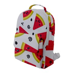 Cute Smiling Watermelon Seamless Pattern White Background Flap Pocket Backpack (large) by Nexatart