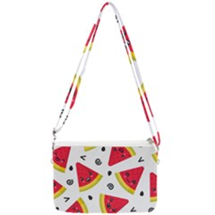 Cute Smiling Watermelon Seamless Pattern White Background Double Gusset Crossbody Bag