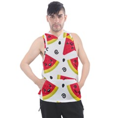 Cute Smiling Watermelon Seamless Pattern White Background Men s Sleeveless Hoodie