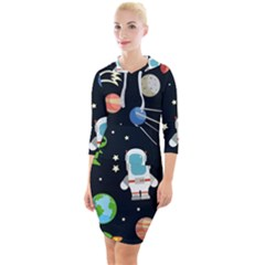 Space Astronomy Decorative Symbols Seamless Pattern Vector Illustration Quarter Sleeve Hood Bodycon Dress