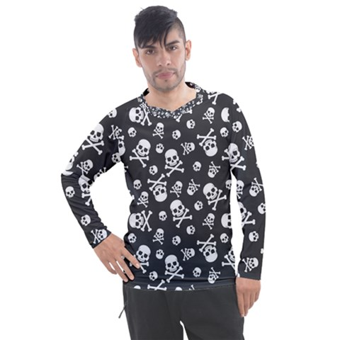 Skull Crossbones Seamless Pattern Holiday Halloween Wallpaper Wrapping Packing Backdrop Men s Pique Long Sleeve Tee by Nexatart