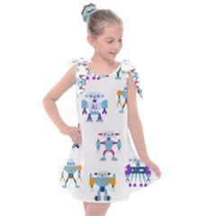 Cute Toy Robotsantennas Wires Seamless Pattern Kids  Tie Up Tunic Dress