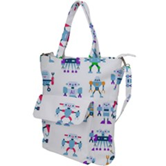 Cute Toy Robotsantennas Wires Seamless Pattern Shoulder Tote Bag