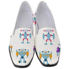 Cute Toy Robotsantennas Wires Seamless Pattern Women s Classic Loafer Heels
