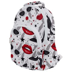 Red Lips Black Heels Pattern Rounded Multi Pocket Backpack