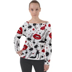 Red Lips Black Heels Pattern Off Shoulder Long Sleeve Velour Top