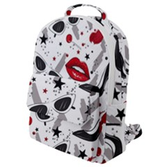 Red Lips Black Heels Pattern Flap Pocket Backpack (small)