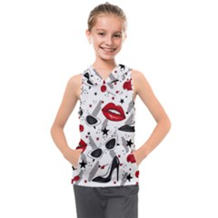 Red Lips Black Heels Pattern Kids  Sleeveless Hoodie by Nexatart