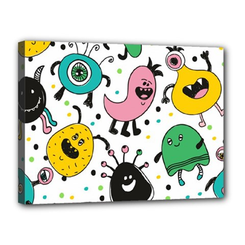 Funny Monster Pattern Canvas 16  X 12  (stretched)