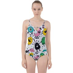 Funny Monster Pattern Cut Out Top Tankini Set
