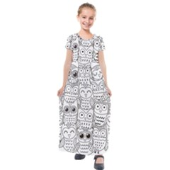 Circle Shape Pattern With Cute Owls Coloring Book Kids  Short Sleeve Maxi Dress by Nexatart
