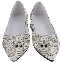 Circle Shape Pattern With Cute Owls Coloring Book Women s Block Heels