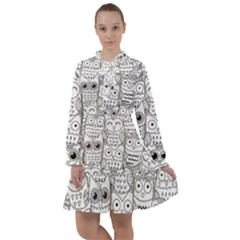 Circle Shape Pattern With Cute Owls Coloring Book All Frills Chiffon Dress