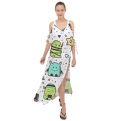 Seamless Pattern With Funny Monsters Cartoon Hand Drawn Characters Colorful Unusual Creatures Maxi Chiffon Cover Up Dress