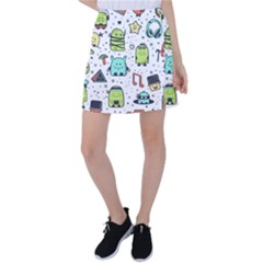 Seamless Pattern With Funny Monsters Cartoon Hand Drawn Characters Colorful Unusual Creatures Tennis Skirt