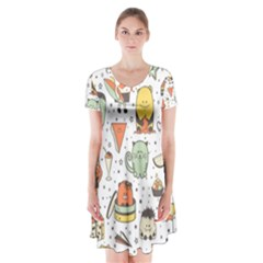 Funny Seamless Pattern With Cartoon Monsters Personage Colorful Hand Drawn Characters Unusual Creatu Short Sleeve V-neck Flare Dress