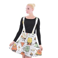 Funny Seamless Pattern With Cartoon Monsters Personage Colorful Hand Drawn Characters Unusual Creatu Suspender Skater Skirt