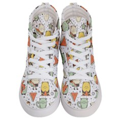 Funny Seamless Pattern With Cartoon Monsters Personage Colorful Hand Drawn Characters Unusual Creatu Women s Hi-top Skate Sneakers