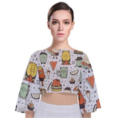 Funny Seamless Pattern With Cartoon Monsters Personage Colorful Hand Drawn Characters Unusual Creatu Tie Back Butterfly Sleeve Chiffon Top