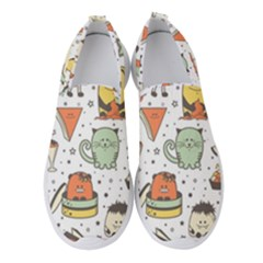 Funny Seamless Pattern With Cartoon Monsters Personage Colorful Hand Drawn Characters Unusual Creatu Women s Slip On Sneakers