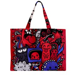 Abstract Grunge Urban Pattern With Monster Character Super Drawing Graffiti Style Vector Illustratio Zipper Medium Tote Bag by Nexatart