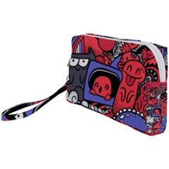 Abstract Grunge Urban Pattern With Monster Character Super Drawing Graffiti Style Vector Illustratio Wristlet Pouch Bag (small) by Nexatart