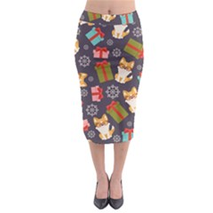Welsh Corgi Dog With Gift Boxes Seamless Pattern Wallpaper Midi Pencil Skirt