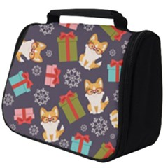 Welsh Corgi Dog With Gift Boxes Seamless Pattern Wallpaper Full Print Travel Pouch (big) by Nexatart