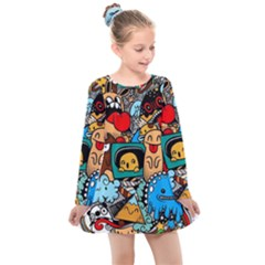 Abstract Grunge Urban Pattern With Monster Character Super Drawing Graffiti Style Kids  Long Sleeve Dress