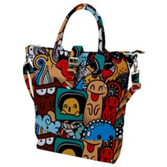 Abstract Grunge Urban Pattern With Monster Character Super Drawing Graffiti Style Buckle Top Tote Bag