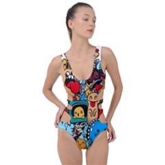 Abstract Grunge Urban Pattern With Monster Character Super Drawing Graffiti Style Side Cut Out Swimsuit