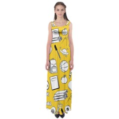 Pattern With Basketball Apple Paint Back School Illustration Empire Waist Maxi Dress