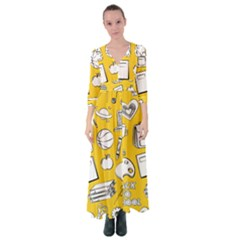 Pattern With Basketball Apple Paint Back School Illustration Button Up Maxi Dress by Nexatart