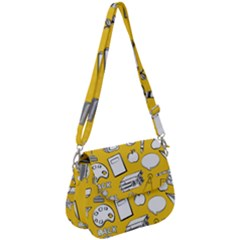 Pattern With Basketball Apple Paint Back School Illustration Saddle Handbag by Nexatart