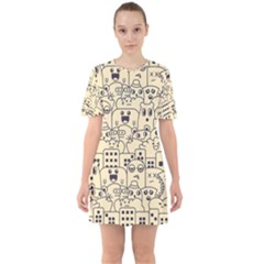 Seamless Pattern With Cute Monster Doodle Sixties Short Sleeve Mini Dress