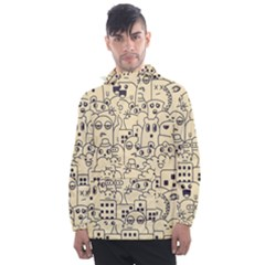 Seamless Pattern With Cute Monster Doodle Men s Front Pocket Pullover Windbreaker