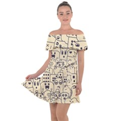 Seamless Pattern With Cute Monster Doodle Off Shoulder Velour Dress by Nexatart