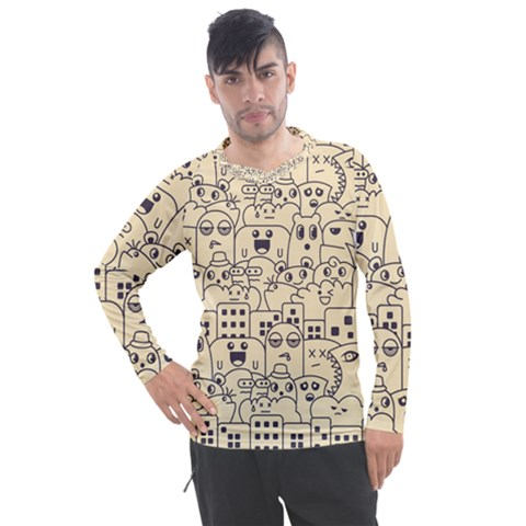 Seamless Pattern With Cute Monster Doodle Men s Pique Long Sleeve Tee by Nexatart