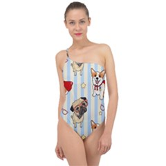 Pattern Dog Classic One Shoulder Swimsuit
