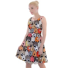 Cute Dog Seamless Pattern Background Knee Length Skater Dress