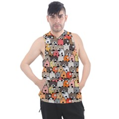 Cute Dog Seamless Pattern Background Men s Sleeveless Hoodie