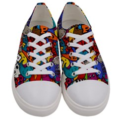 Graffiti Characters Seamless Pattern Women s Low Top Canvas Sneakers