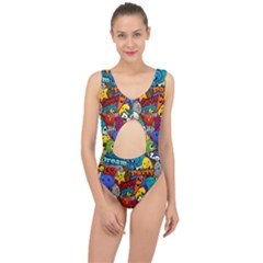 Graffiti Characters Seamless Pattern Center Cut Out Swimsuit
