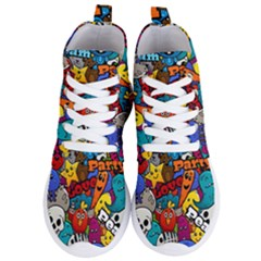 Graffiti Characters Seamless Pattern Women s Lightweight High Top Sneakers