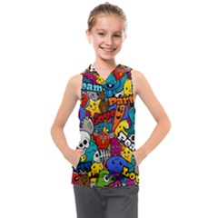 Graffiti Characters Seamless Pattern Kids  Sleeveless Hoodie