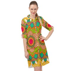 Mandala Patterns Yellow Long Sleeve Mini Shirt Dress