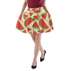 Cute Watermelon Seamless Pattern A Line Pocket Skirt