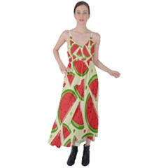 Cute Watermelon Seamless Pattern Tie Back Maxi Dress