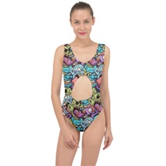 Zombie Heads Pattern Center Cut Out Swimsuit