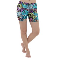 Zombie Heads Pattern Lightweight Velour Yoga Shorts